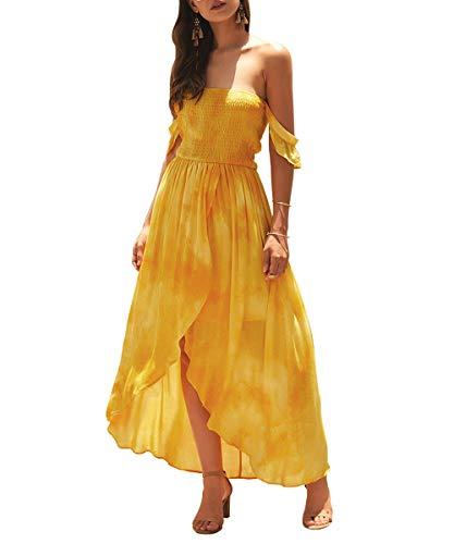 KIRUNDO Women's Fashion Summer Dress Off Shoulder High Waist Tie Dye High Front Split Elastic Maxi Dress (X-Large, Yellow) (High Split Maxi Dresses For Women)