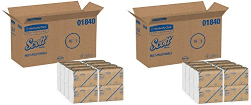 Scott Multifold Paper Towels (01840) with Fast-Drying Absorbency Pockets, White, 16 Clips (2 Cases) , 250 Sheets / Clip, 4,000 Towels / Case by Kimberly-Clark Professional