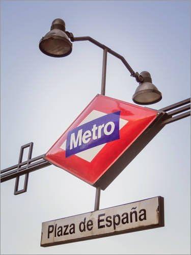 Posterlounge Lienzo 60 x 80 cm: Metro Sign in Plaza de España de Editors Choice - Cuadro Terminado, Cuadro sobre Bastidor, lámina terminada sobre Lienzo auténtico, impresión en Lienzo: Amazon.es: Hogar