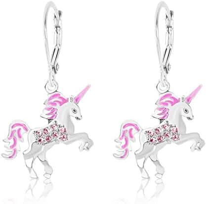 Kids Earrings - White Gold Tone Pink Enamel Unicorn Crystal Earrings with Silver Leverbacks Baby, Girls, Children