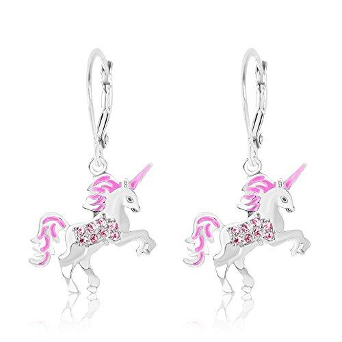 Kids Earrings - White Gold Enamel Unicorn Crystal Earrings with Silver Leverbacks Baby, Girls, Children (Child Kid Earring)