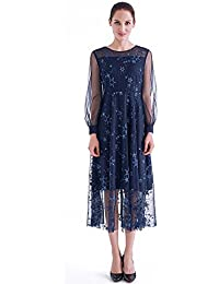 France CG Women's Autumn Long Net Sleeve Dress Vintage Casual Swing Dress Fit and Flare 884C070