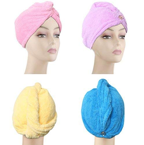 - 4 Pack Microfiber Hair Drying Towels, Fast Drying Hair Cap, Long Hair Wrap,Absorbent Twist Turban, Pink, Purple, Blue, Yellow