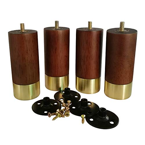 Btibpse Wood Furniture Legs 100% Solid Wood/Mid-Century Modern Feet with Brass Base Great Replacement for Sofa, Couch, Bed, Coffee Ottoman TV Stand Loveseat Dresser Set of 4 (Cylinder)