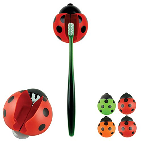 GeoBIX(TM)4pcs/lot Sanitary Toothbrush Holder Suction Cup Ladybug Wall Mounted Kids bathroom tool sale ()