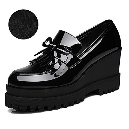 Odema Women's Patent Leather Dressy Wedge High Heel Penny Loafers Platform Shoes Sneakers