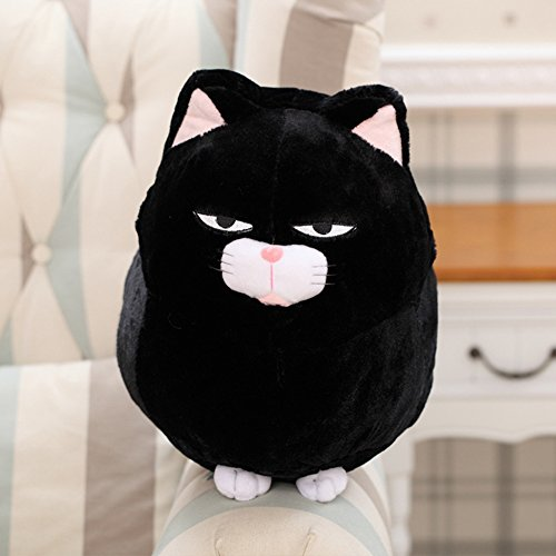 Lanlan Creative Cute Stuffed Whiskery Cat Plush Toy Ornament Doll for Halloween Christmas Birthday Gift Bring Luck Fortune black; 40cm