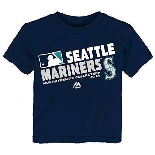 (Outerstuff Seattle Mariners MLB Majestic Toddler Navy Blue AC Team Choice T-Shirt)