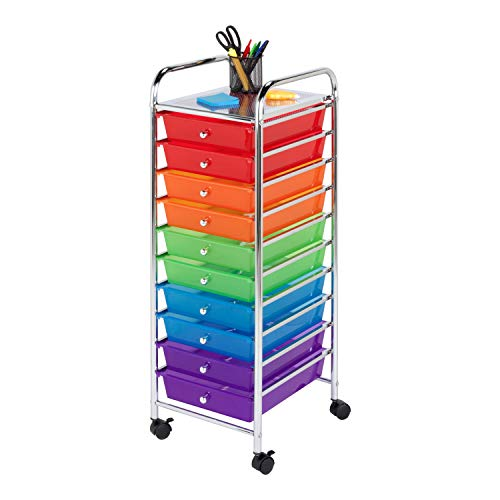 Honey-Can-Do CRT-02214 Rolling Office Organizer, 10-Drawer (Colorful Plastic Storage Drawers)
