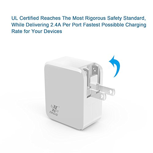 iXCC UL Certified 2 Port Wall Charger, 24W/4.8A Optimal Dual USB Charging Port Universal Charger Adapter for iPhone 7 / 6s Plus, iPad Air mini 3, Galaxy S Note Series, LG, etc - White