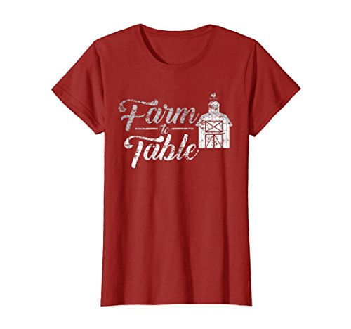Womens Farm to Table Shirt 2, Eat Local, Support the Farmer Gift Large Cranberry