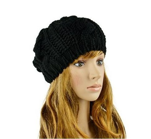 JOVANA New Arrival Top Fashion Winter Warm Women Lady Yong Girls Baggy Beret Chunky Knit Knitted Braided Beanie Hat Ski Cap Crochet Knitted Hat Knitted Crochet Oversized Slouch Hat for Women (Black)