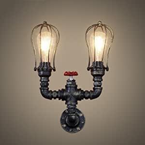 QIANG Rust Iron 2 Light Pipe Wall Sconce with Wire Cage