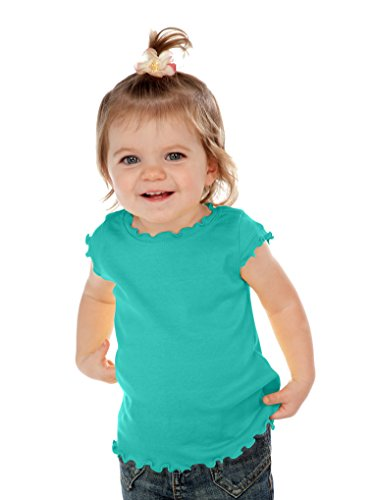Kavio! Infants Lettuce Edge Scoop Neck Cap Sleeve Top Caribbean Blue 24M