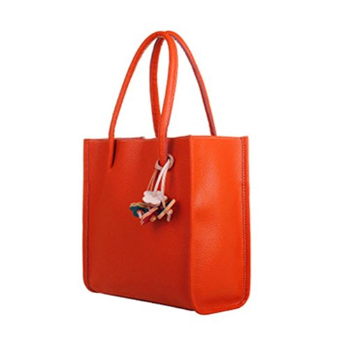 Girl Tote Handbag - VIASA Fashion Girls Handbags Leather Shoulder Bag Casual Bag Candy Color Flowers Totes (Orange)