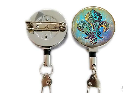 (Blue and Green Fleur de Lis Keychain - Blue Hues - New Orleans Keychain - Verdigris Jewelry,Retractable Badge Holder Carabiner Reel Clip On ID Card Holders)