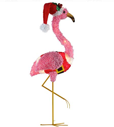 Pink Flamingo Santa - Morning Star Market Light Up Santa Fuzzy Flamingo Christmas Holiday Yard Sculpture Lawn Decoration with Free Charm/Tree Ornament!