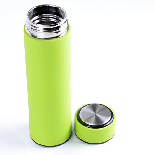Stainless Steel Thermos 16 Oz. Double Wall Vacuum Insulated with 18/8 Steel - Keeps Drinks Hot or Cold for 12 Hours. Travel Mug, Tumbler or Water Bottle. Includes a Removable Tea Strainer. (Green) (Coffee Container Vaccum compare prices)