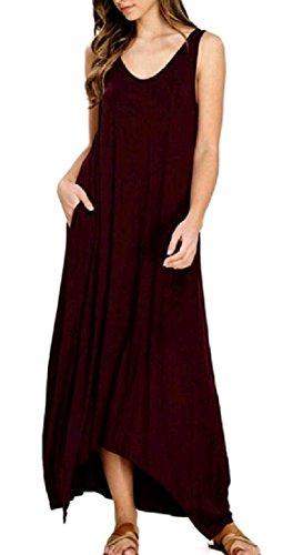 Coolred-femmes Poches Asymétrie De Collection Une Ligne Sans Manches À La Mode Taille Plus Longue Vin Rouge Robe Maxi