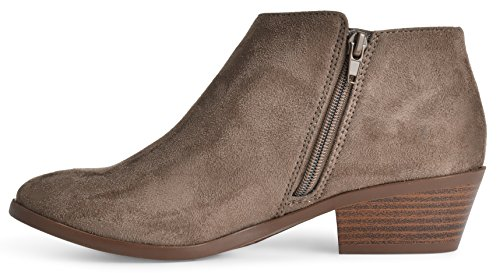 Soda Damen Runde Kappe Faux Wildleder Stacked Heel Western Ankle Bootie, Ton, 85 M US Tiefes Taupe Faux Wildleder *