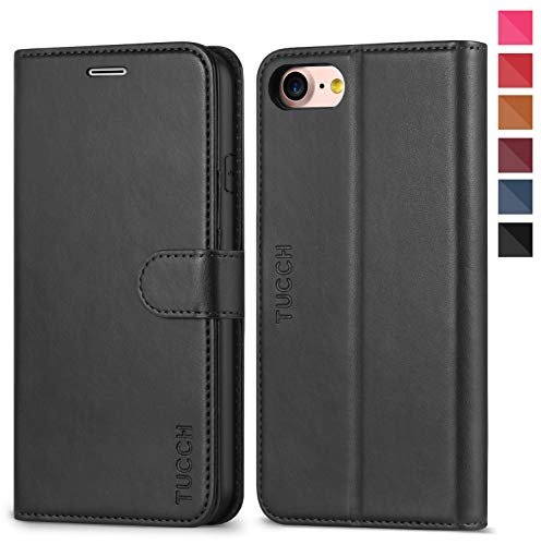iPhone 8 Case, iPhone 7 Wallet Case, TUCCH Premium PU Leather Flip Folio Wallet Case with Card Slot, Kickstand, Book Design, Magnetic Closure [TPU Interior Case] Compatible with iPhone 8/7, Black
