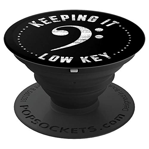Clef Tuba - Bass Clef Keeping It Low Key Music Musician Black and White - PopSockets Grip and Stand for Phones and Tablets