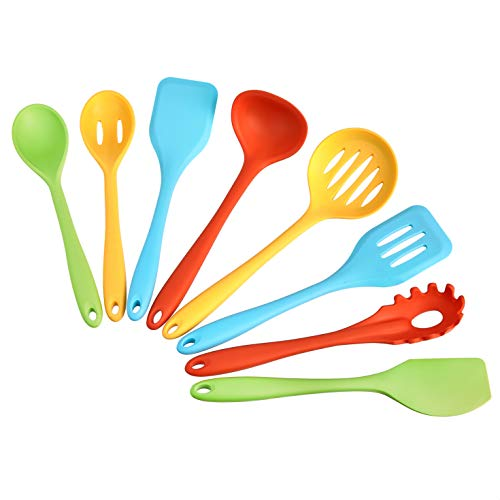 AmazonCommercial Non-Stick Heat Resistant Silicone Cooking Utensil Set, Set of 8 Utensils, Multicolor