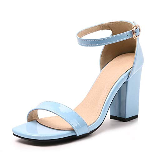 OTOSU Women's High Block Heel Platform Sandals Peep Toe Ankle Strap Buckle Patent Leather Sandal Pumps Blue Cone Heel Ankle Strap Platform