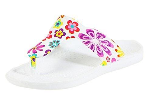 CLEOSTYLE Angesagte Damen Badeschlappen, Slipper, Badesandalen mit Blumendruck und Zehentrenner CL 296 Lila / 3