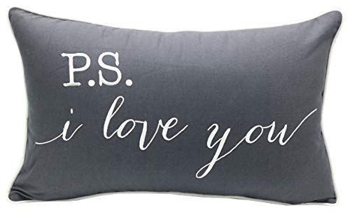 """YugTex Pillowcase P.S.I Love You Quote Pillow Cover, Throw Pillow, Gift Pillow, Gift for him, Gift for her,Wedding Gift, Bridal Shower Gift, Hand Sta (12""""x20"""", Dark Grey(P.S I Love))"""
