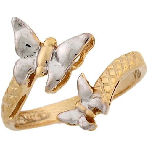 Two-Toned 10k Real Gold Butterflies Wrap Ladies - 10k Ring Butterfly