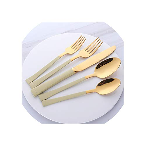 (5 Pieces Stainless Steel Flatware Set Square Edge Service For Knife Fork Spoon Dinnerware 5 Pcs/Set Tableware,8 Sets(40 Pcs),Gold(Green Handle))