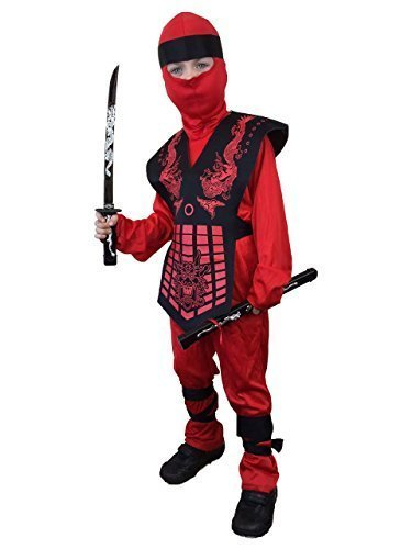 Rubber Johnnies International Kids Red Ninja Costume, Child Karate , Dragon Ninja Warrior, Size (8-10 Years) -