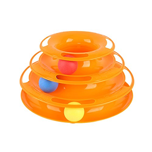 Tower of Tracks Cat Toy/New Cat Toys, Three-layer Catching Game Toy Funny Cat Toys, Pet Cat Toy Three-layer Tricolor Ball Carousel Cat Catching Ball Game Toys//Interactive Cat Ball Toy|3-Level Tower -
