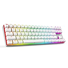 DREVO 71 Keys Calibur Gaming Mechanical Keyboard Bluetooth 4.0 Edition with RGB Backlit Blue Switch for PC & Mac - White