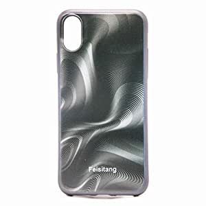 IPhone X Phone case, Curves Pattern 3D Visual Effects TPU Phone Protection Cover Black