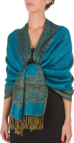 "70 x 28"" Border Pattern Double Layer Woven Pashmina Shawl / Scarf / Wrap / Stole - Turquoise"""