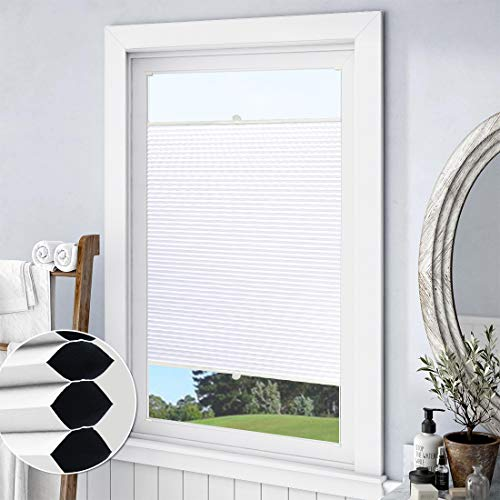 Keego Blackout Cellular Shades Top Down Bottom up, Custom Cut to Size Window Blinds, White, 31″ W x 60″ H, Room Darkening Thermal Honeycomb Blinds for Windows French Door Skylight