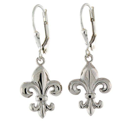 Sterling Silver Fleur De lis Leverback Earrings