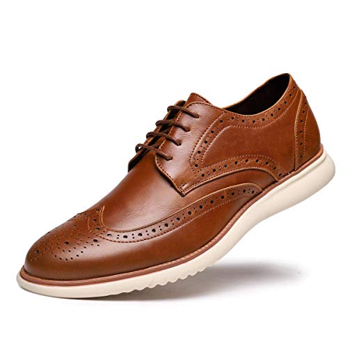 Men's Dress Shoes Leather Oxford Lace Up Walk Wingtip Oxford for Men Brown 01 US 12