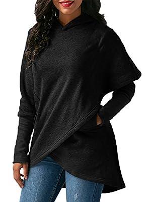 FIYOTE Women Long Sleeve Hooded Asymmetric Hem Wrap Hoodie Sweatshirt Outwear Tops Blouse S-XXL