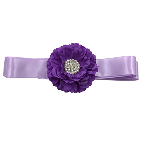 Flower Girls Sash Belt with Bead Wedding Gown Sash Peony Flower Silk Belt JB24 (4-Lavender) (Silk Sash Bridal)