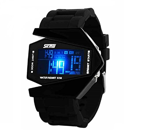 Military Cool Colorful Light Digital Sport Water-proof Stealth fighter Style Wrist Watch -Black