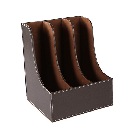 3 Compartment Arc PU Leather Office Desktop Document File Organizer Rack / Magazine Holder Folder Storage Box by JAJAFOOK