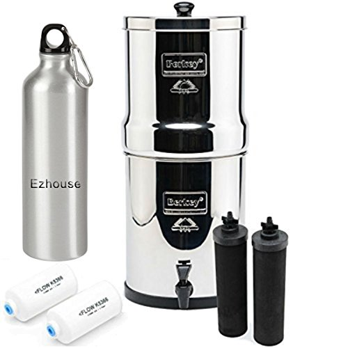Travel Berkey Water Filter System 1.5 Gallon with 2 Black Berkey Purifiers and 2 Fluoride Filters and Aluminum Sports Bottle by Berkey