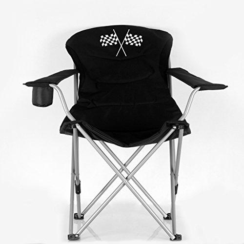 Stylish Camping Black/Flag Logo Folding Reclining Outdoor Sports Camping Chair 36029