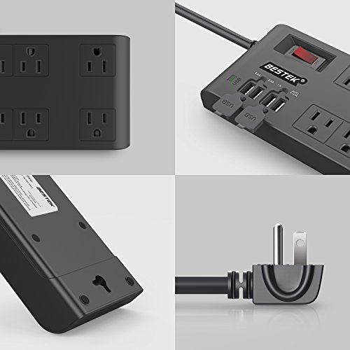 BESTEK 8-Outlet Surge Protector Power Strip with 4 USB Charging Ports and 6-Foot Heavy Duty Extension Cord, 600 Joule, ETL Listed
