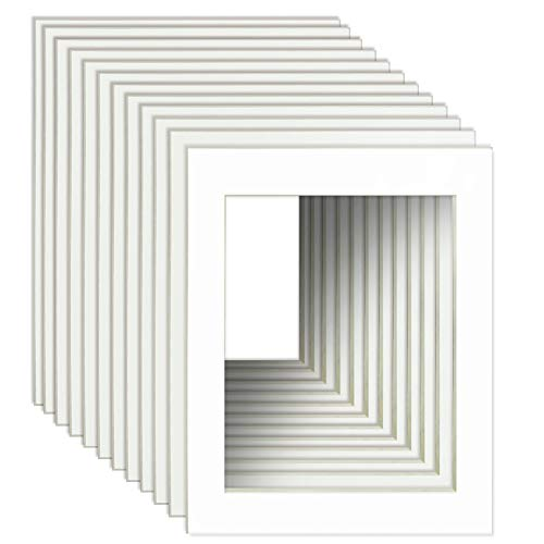 Schliersee Pack of 10 Large White 24x36 Picture Mats for 20x30 Photo with Core Cut Picture Frame -