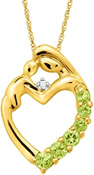 Mothers Jewel 1/3 ct Peridot Heart Pendant
