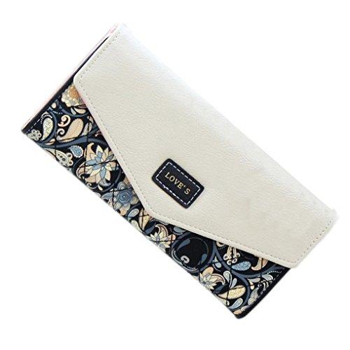 Prettymenny Women Leather Clutch Wallet ,New Fashion Lady Long Card Wallet (Black)